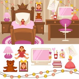 Habitación de niñas. conjunto de muebles para niñas.