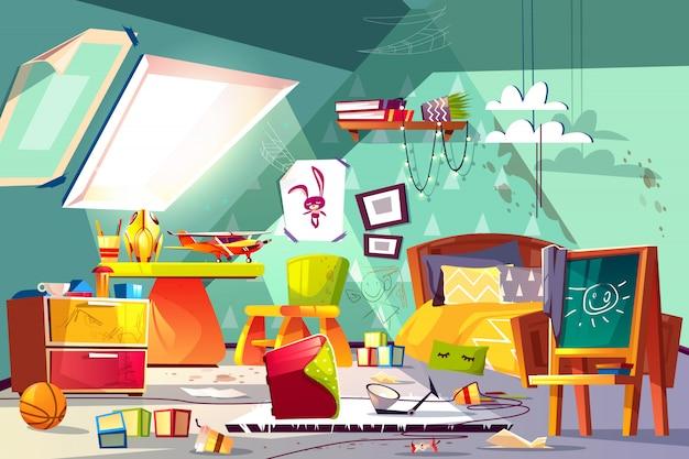 Habitación para niños en el ático interior con un desorden terrible, piso manchado, juguetes dispersos, dibujos