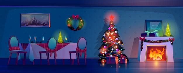 Habitación en la noche de navidad, interior de la casa vacía.
