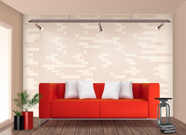 Habitación pequeña, elegante diseño interior con sofá rojo y maceta alegrar las paredes neutrales ilustración realista