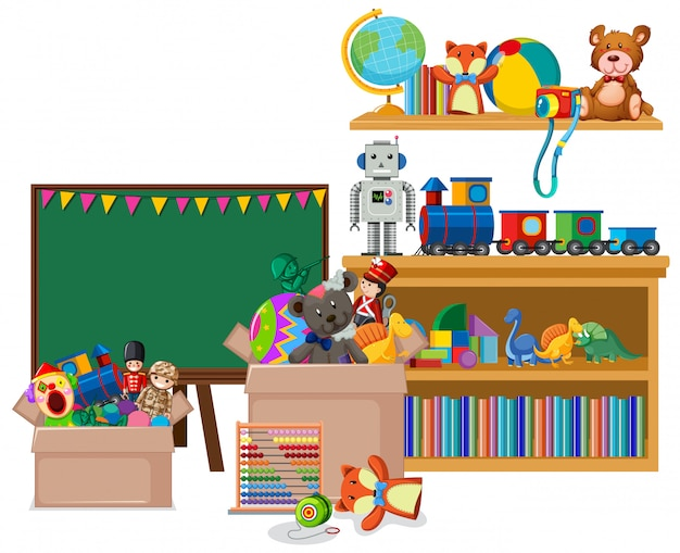 Habitación con pizarra y muchos juguetes.