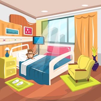 Habitación de rehabilitación para niños hospitalizados con cama grande