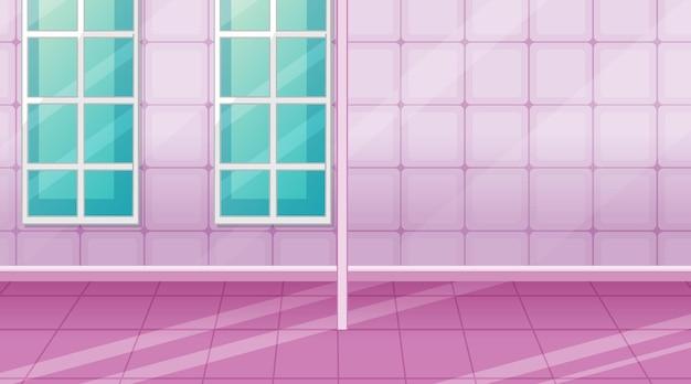 Habitación rosa vacía con azulejos rosas y separador de ambientes