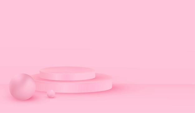 Habitación rosa vacía con diseño de fondo de podio rosa