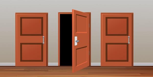Habitación con tres puertas.