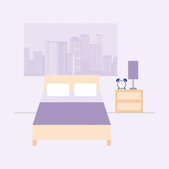 Habitación vacía con cama y ventana con vista a la ciudad, estilo plano