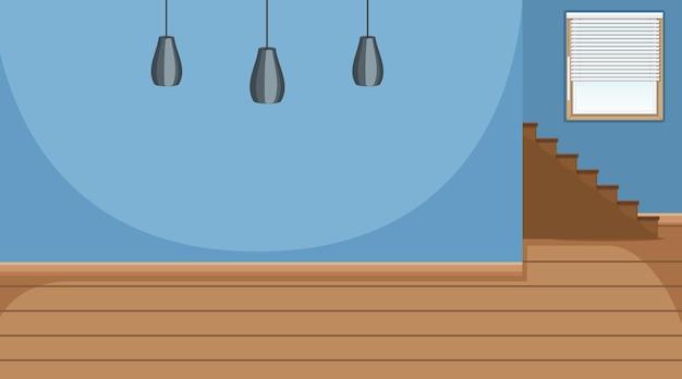 Habitación vacía con pared azul y piso de parquet de madera
