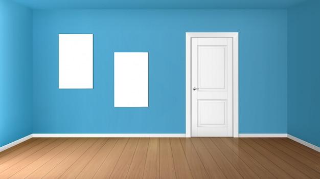 Habitación vacía con puerta cerrada y carteles en blanco