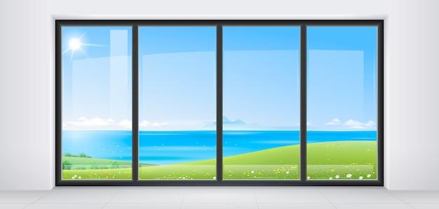 Habitación con ventana panorámica.