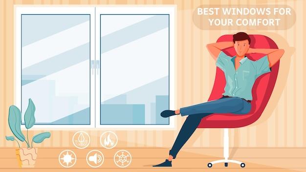Habitación con ventanas de plástico nuevas y hombre relajante en sillón ilustración plana