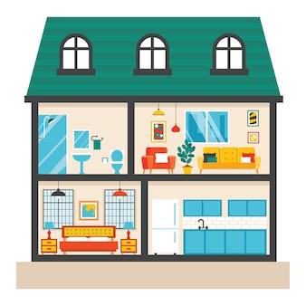 Habitaciones de la casa con muebles planos