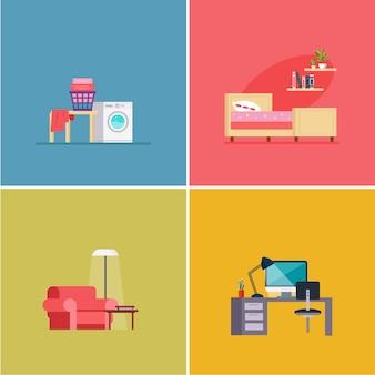 Habitaciones de diseño de interiores. conjunto de ilustraciones