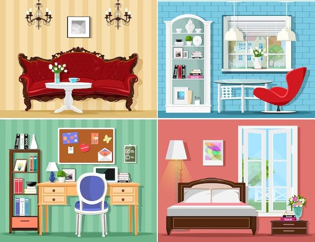 Habitaciones elegantes con sala de estar, dormitorio y oficina en casa.