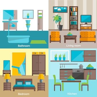 Habitaciones interiores amuebladas 4 iconos planos.