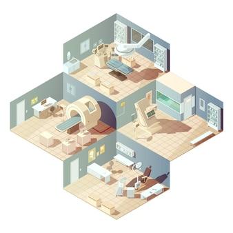 Las habitaciones isométricas del hospital con diversos equipos para el concepto de examen sobre fondo blanco vector i