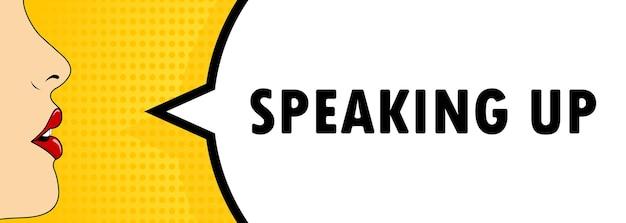 Habla. boca femenina con lápiz labial rojo gritando. bocadillo de diálogo con texto speek up. estilo comic retro. puede utilizarse para negocios, marketing y publicidad. eps vectoriales 10