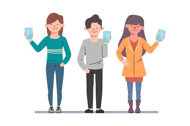 Hablando de gente de negocios. hombre y mujer hablando en las redes sociales. ilustración de vector de dibujos animados en estilo plano.