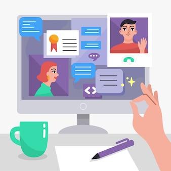 Hablar en línea de cuarentena conceptual en casa