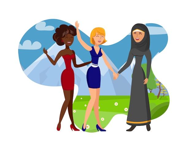 Hacer amigos extranjeros color vector illustration
