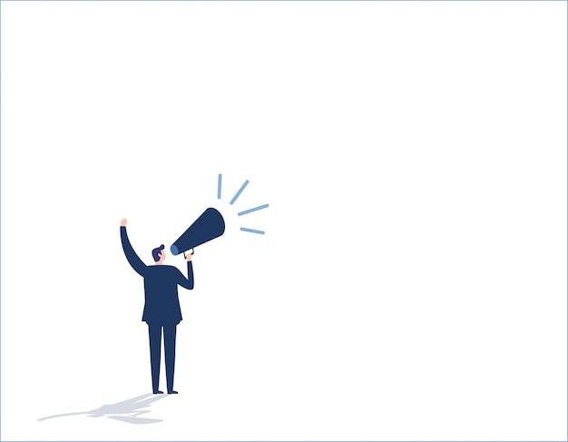 Hacer un anuncio. fondo plano del ejemplo del diseño del vector del concepto de los hombres de negocios del mensaje.