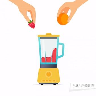 Hacer un batido mano que sostiene la fruta.