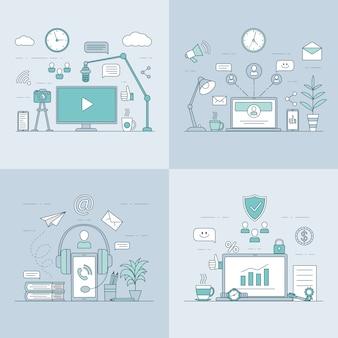 Hacer contenido de video, análisis de datos, audiolibro, ilustración de esquema de dibujos animados de redes sociales.