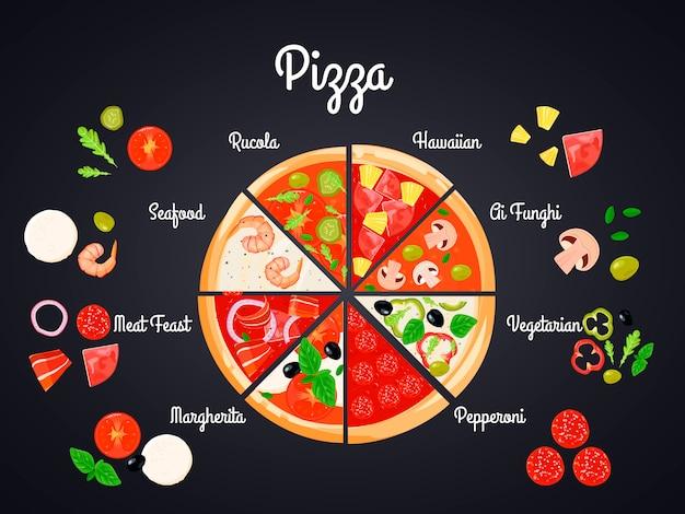 Hacer crear composición conceptual de pizza con imágenes planas.