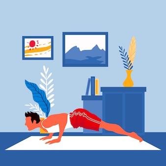 Hacer deporte en casa concepto