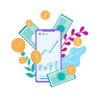 Hacer dinero en línea en banner de publicidad de smartphone