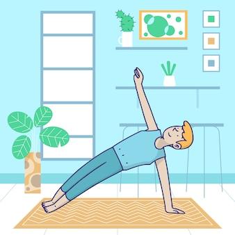 Hacer ejercicio de tablón lateral en el interior del deporte