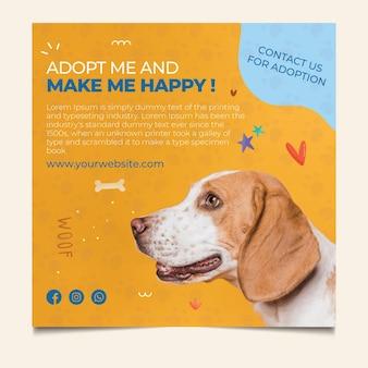 Hacer feliz a una mascota adoptar plantilla de volante cuadrado