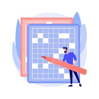 Hacer una ilustración de vector de concepto abstracto de crucigramas y sudoku. quédate en casa con juegos y rompecabezas, mantén tu cerebro en forma, tiempo de autoaislamiento, metáfora abstracta de actividad de ocio en cuarentena.