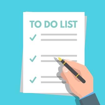 Para hacer la lista, el concepto de planificación. se completan las tareas. vector ilustración plana
