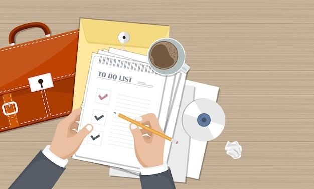 Para hacer la lista de documentos con las manos, vista superior
