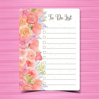 Para hacer la lista con hermosas flores de acuarela