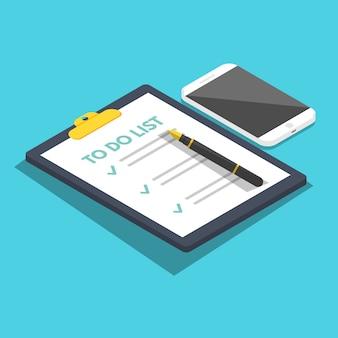 Para hacer la lista isométrica, concepto de planificación. se completan las tareas. vector ilustración plana