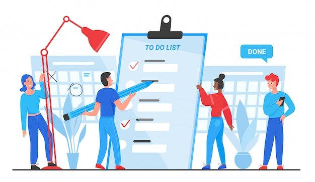 Para hacer la lista, los objetivos completan la ilustración del concepto. planificación de grupo de personas pequeñas planas de dibujos animados, de pie cerca del documento de papel del planificador de lista de verificación, marcando tareas comerciales completadas aisladas