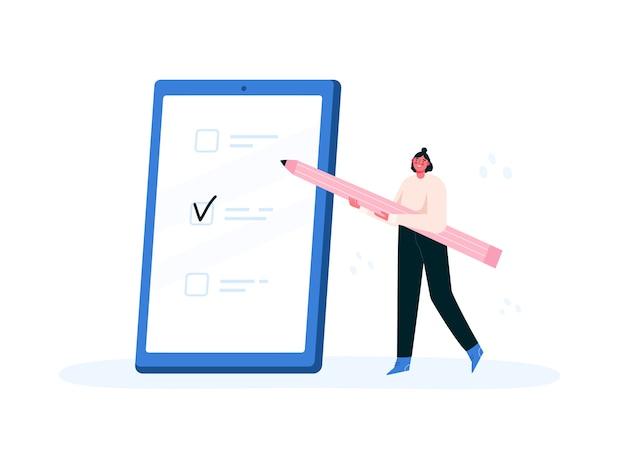 Para hacer la lista de verificación. marcar las tareas realizadas en un teléfono. planificación, gestión del tiempo. ilustración plana