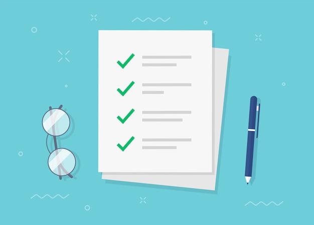Para hacer las marcas de verificación de la lista de verificación del formulario de tarea como hoja de papel en el escritorio de trabajo plano