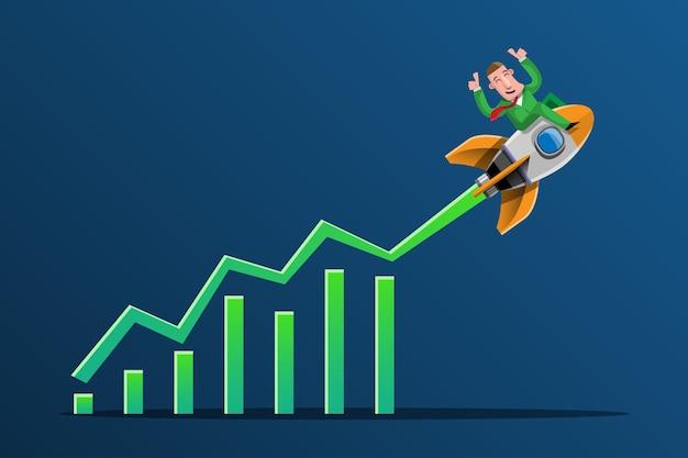 Hacer negocios con buenas ideas es como tener un cohete dirigido a lo más alto del gráfico de forma clara y rápida. ilustración en estilo 3d
