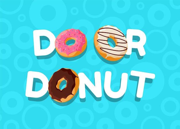 Hacer o donut dibujos animados coloridos donut sabroso y cartel azul horizontal de inscripción. vista superior de horneado esmaltado con chocolate y chispas para decoración de cafetería o diseño de menú. banner de eps plano vectorial