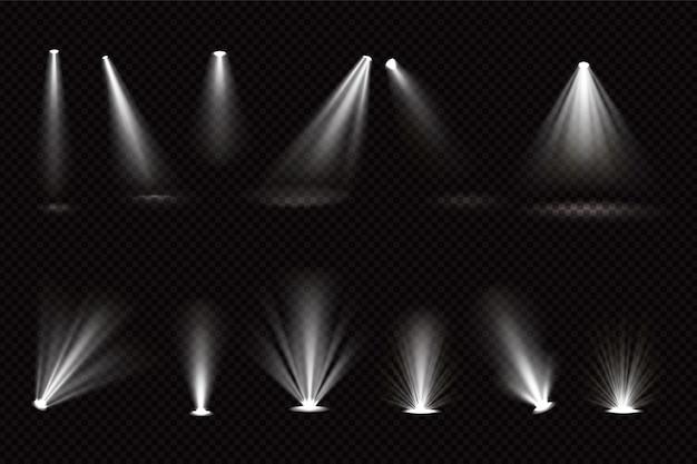 Haces de luz de focos y proyectores de suelo aislados