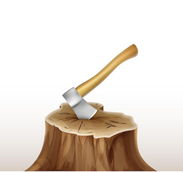 Hacha de hierro de vector con mango de madera marrón, ocre en tocón aislado sobre fondo blanco.