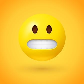 Haciendo muecas emoji cara sobre fondo amarillo