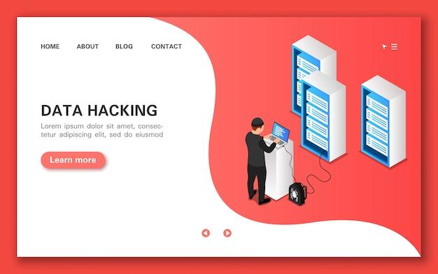 Hackear datos. banner de concepto en vista isométrica plana.