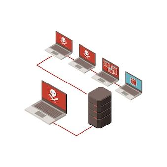 Hackear ilustración isométrica con servidor infectado y computadoras portátiles 3d
