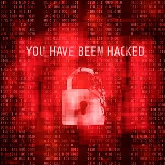 Hackeo de software. el sistema de masaje ha sido pirateado. fondo rojo de código binario al azar