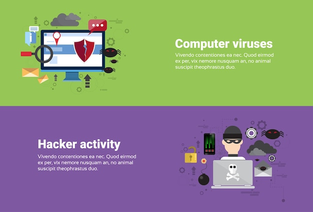 Hacker actividad virus informáticos protección de datos privacidad internet seguridad de la información web banner fl