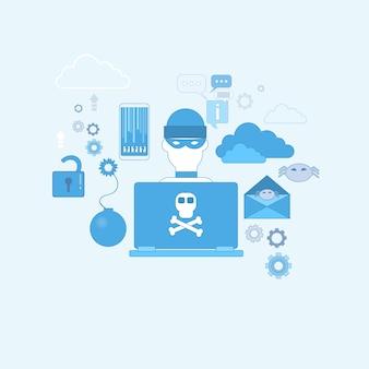 Hacker actividad virus informáticos protección de datos privacidad internet seguridad de la información web banner ve