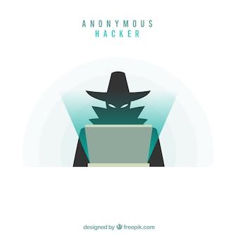 Hacker anónimo con diseño plano